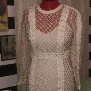 Bebe White and gold mini dress